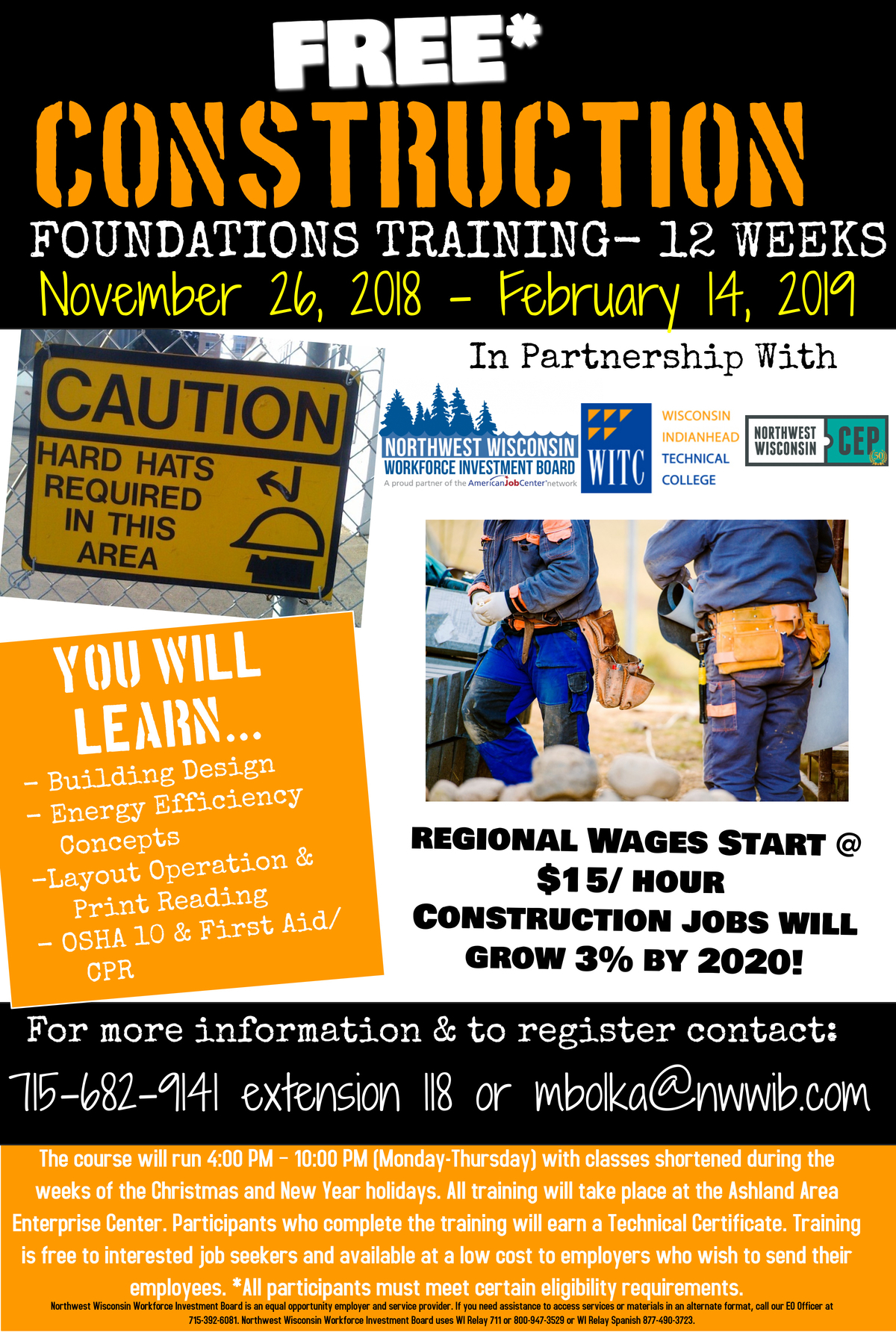 The course will run 4:00 PM – 10:00 PM (Monday-Thursday) with classes shortened during the weeks of the Christmas and New Year holidays. All training will take place at the Ashland Area Enterprise Center. Participants who complete the training will earn a Technical Certificate. Training is free to interested job seekers and available at a low cost to employers who wish to send their employees. *All participants must meet certain eligibility requirements. https://youtu.be/oppg11TQpb4