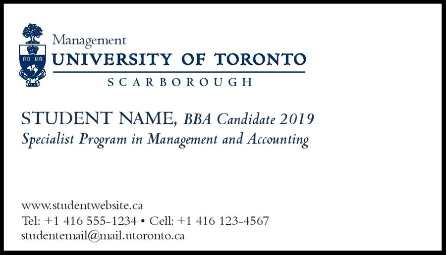 100 cards, in 12 pt. Business Card stock with University of Toronto signature   Our Price: $24.00