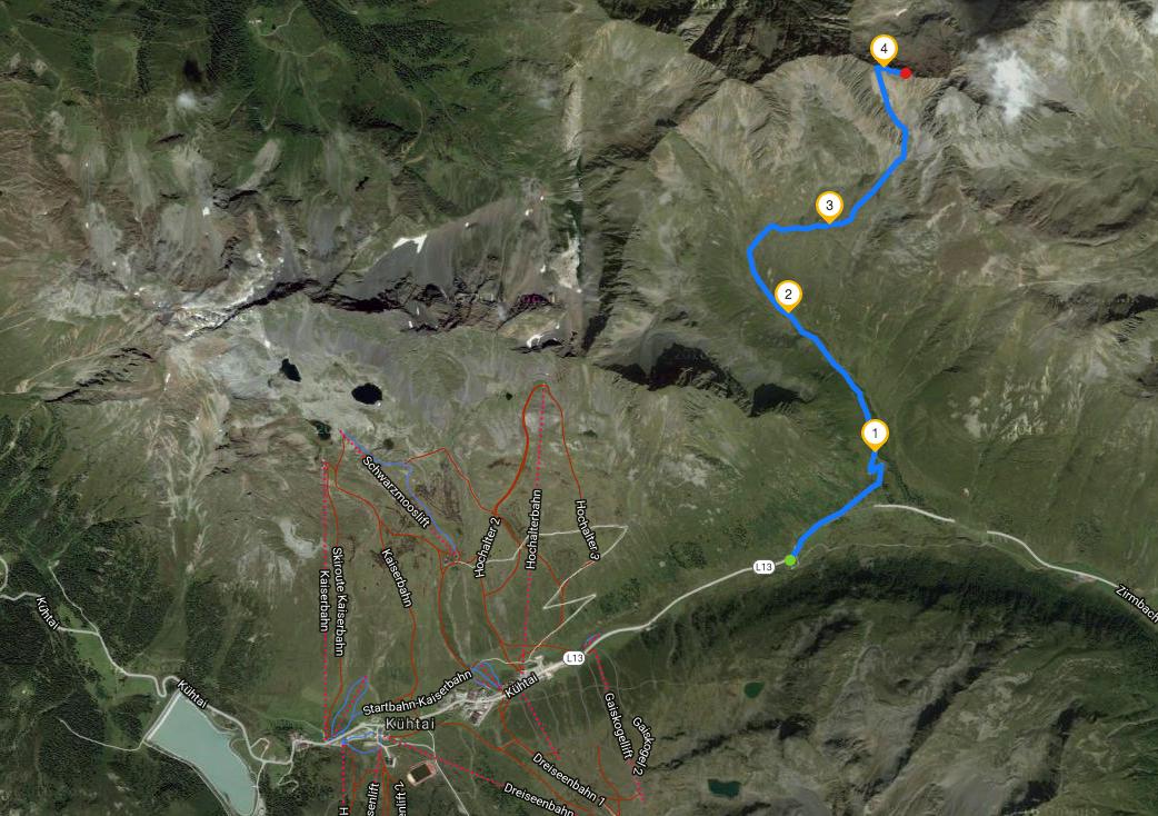 From Kühtai to the summit.