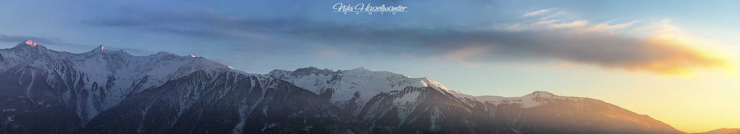 Evening-panorama from my terrace. The second summit from the left is the target.