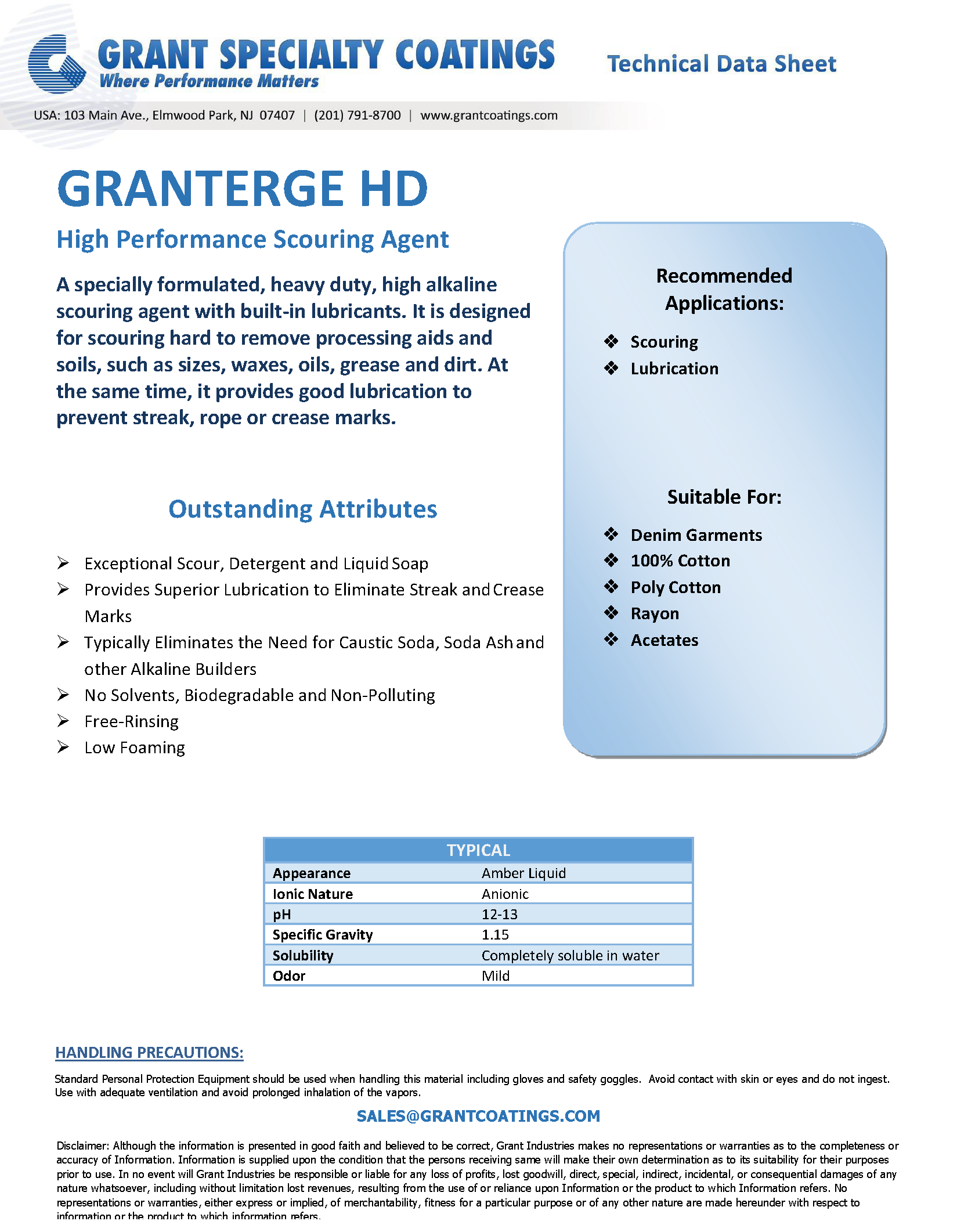 Textile Auxiliary Scouring GranTerge HD