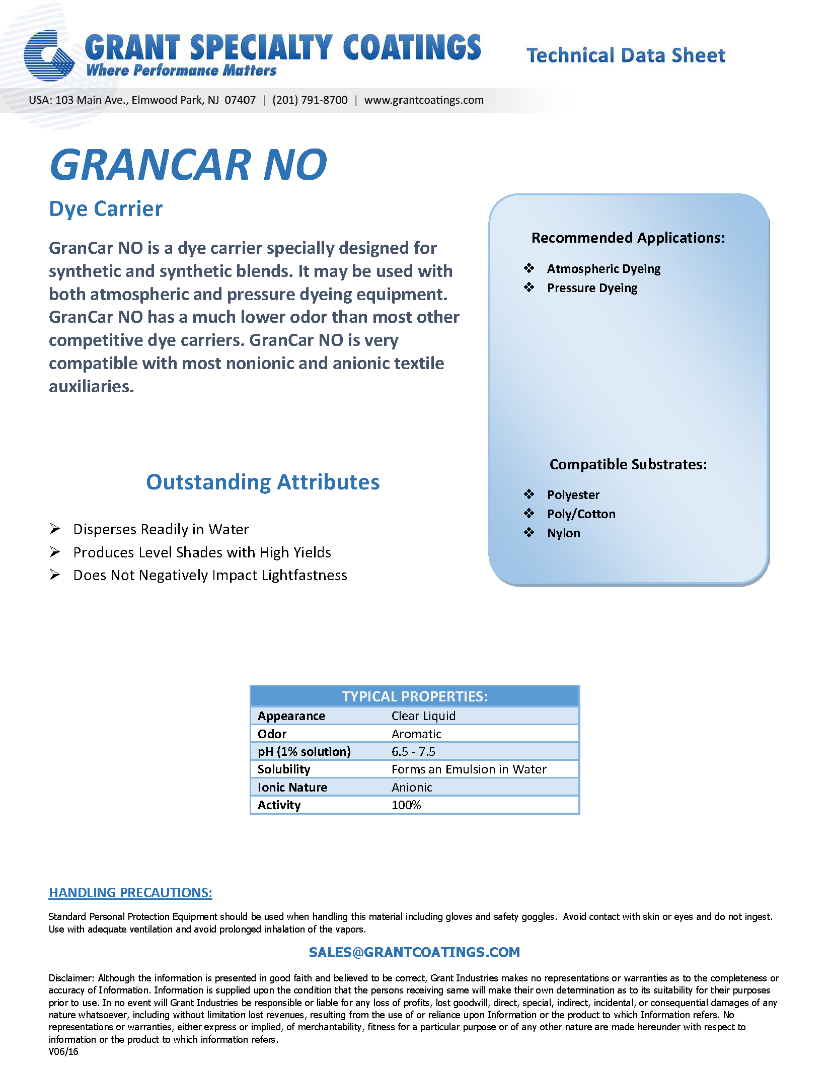 Textile Auxiliary Dye Carrier GranCar NO