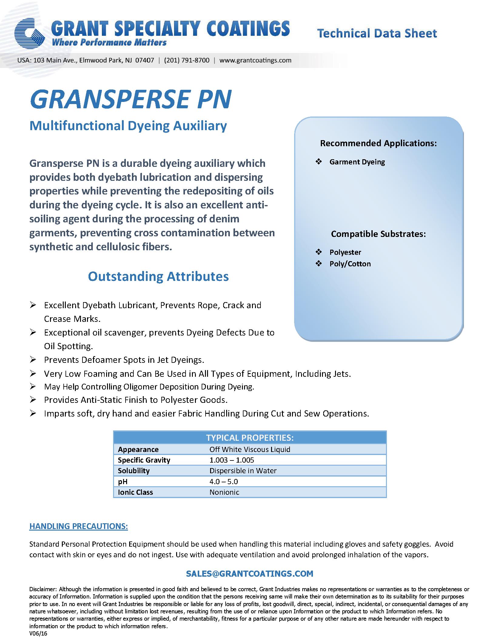 Garment Dyeing Leveling Dispersing Gransperse PN