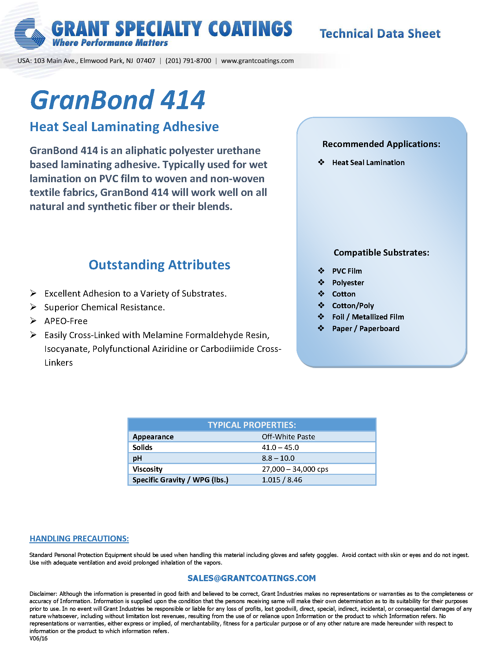 Textile Auxiliary Laminating Adhesive GranBond 414