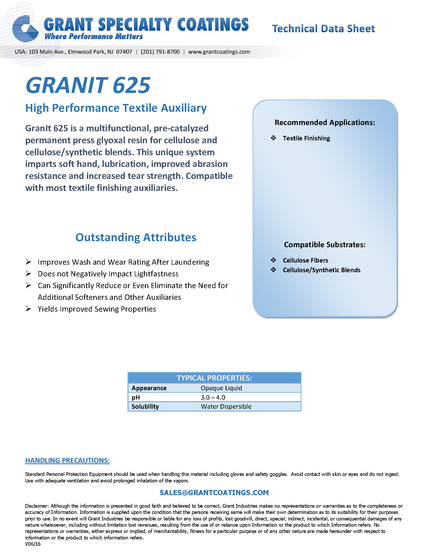 Textile Auxiliary Resin Emulsion GranIt 625