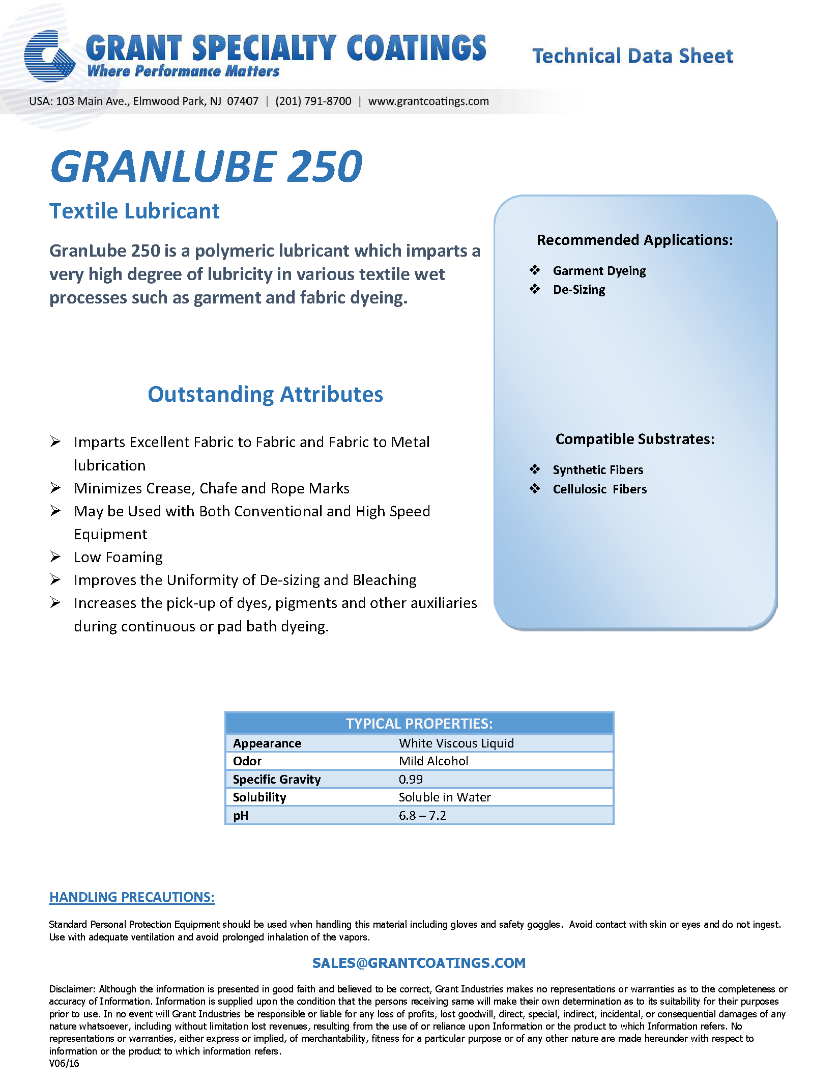 Textile Auxiliary Lubricant GranLube 250