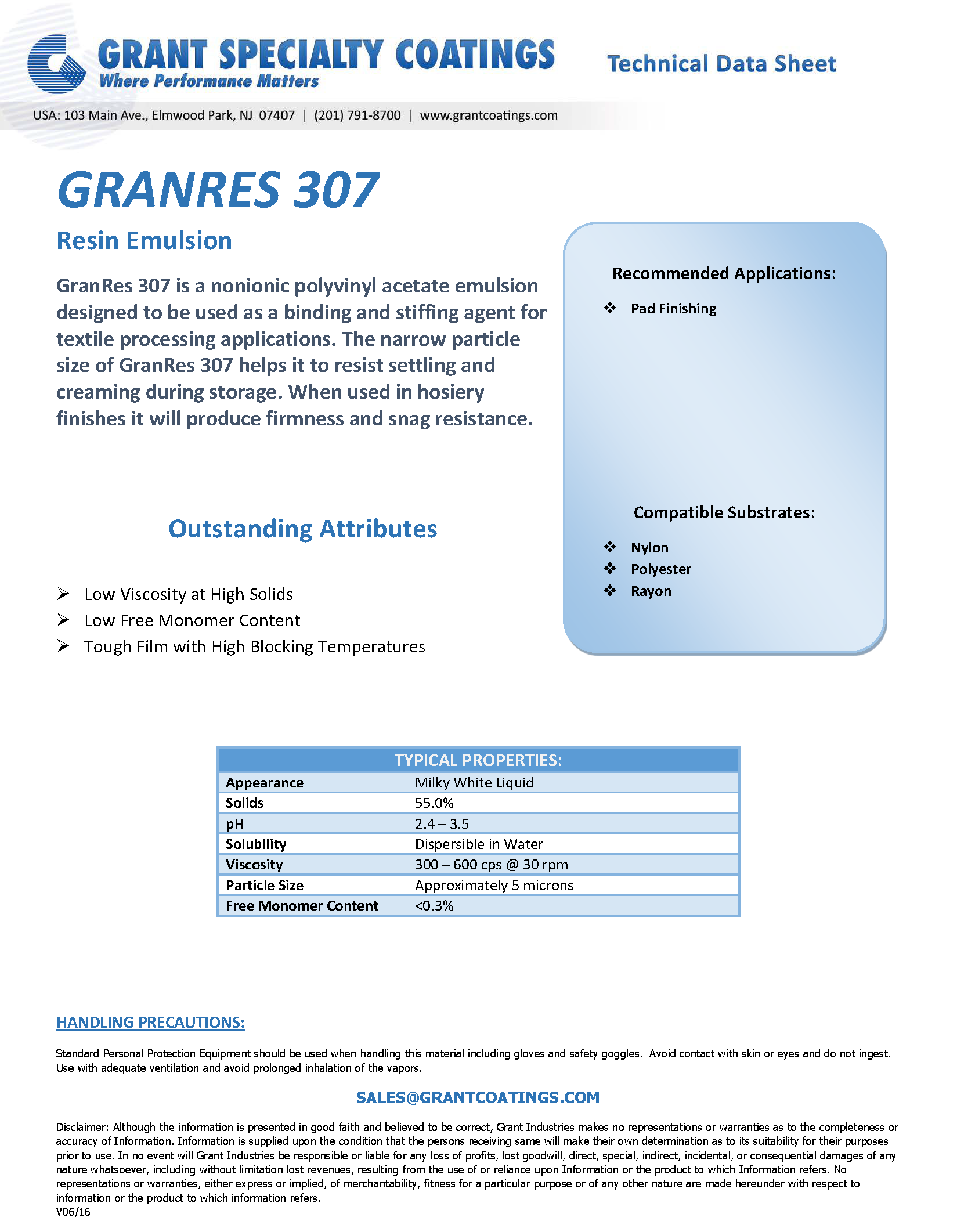Textile Auxiliary Resin GranRes 307