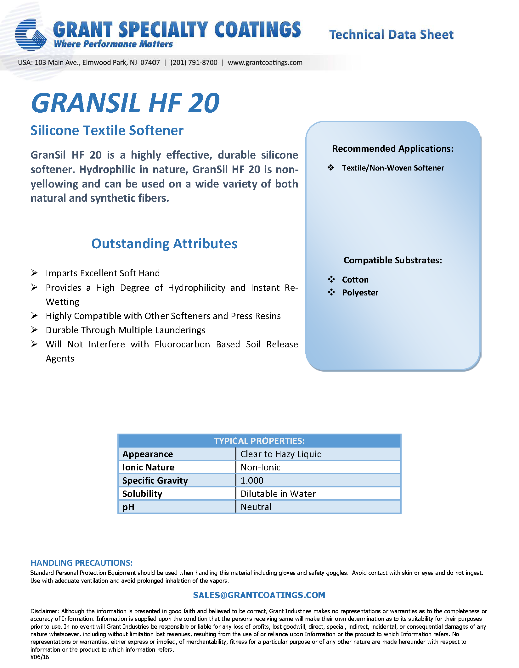 Textile Processing Auxiliary-Nonwoven-softener-GranSil HF 20.png