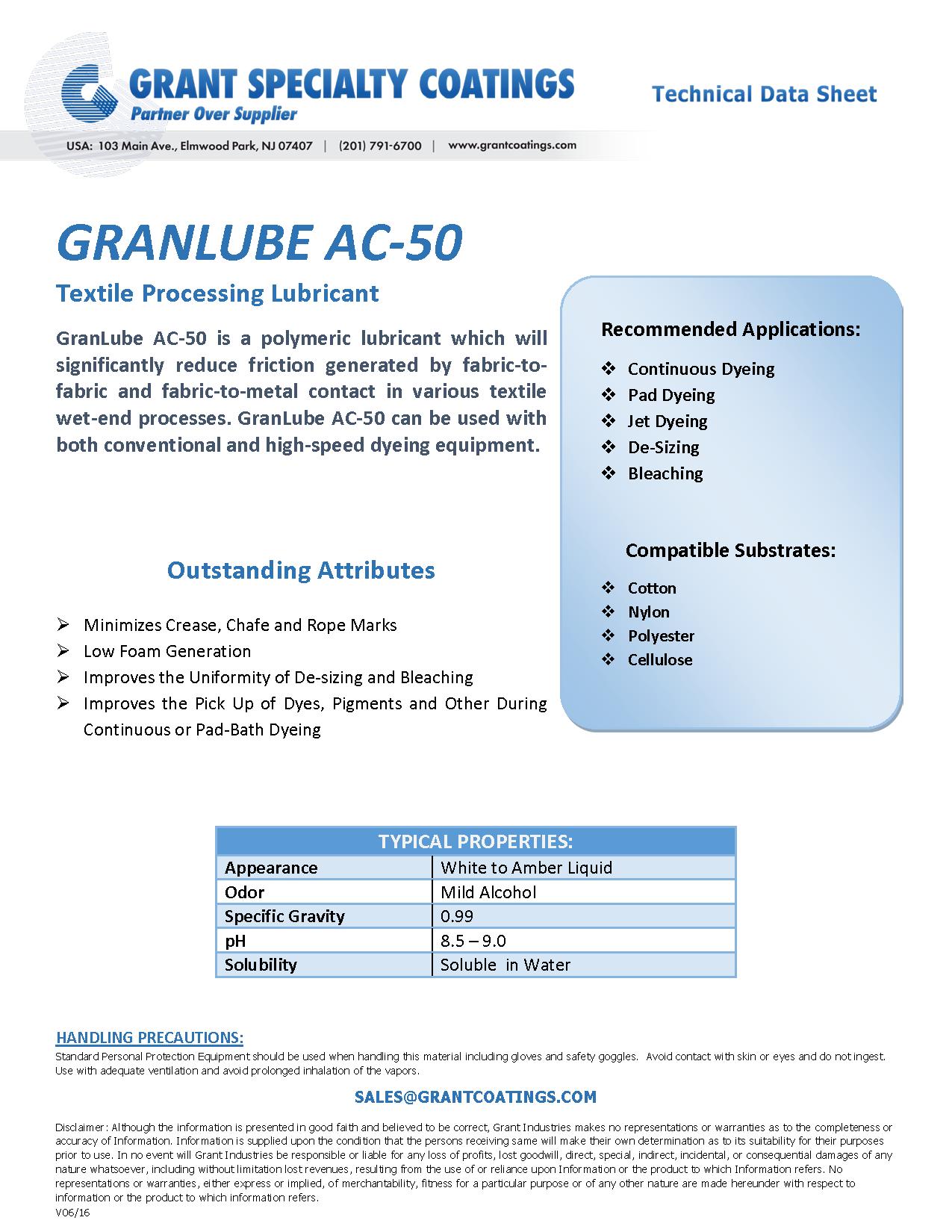 Textile Processing Lubricant GranLube AC-50