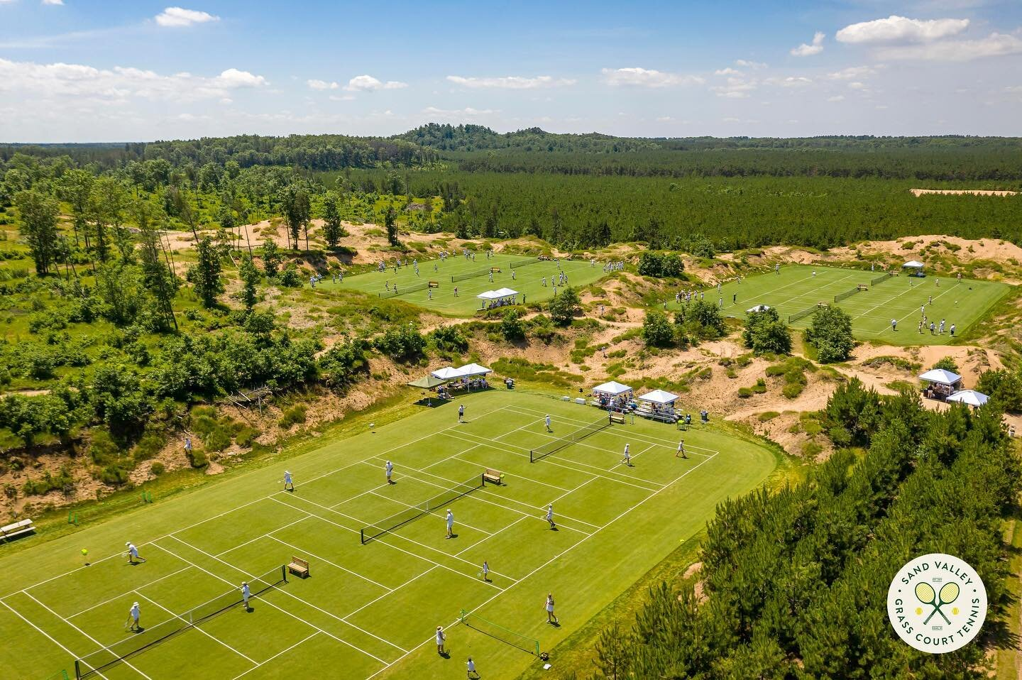 Grass tennis courts at Sand Valley