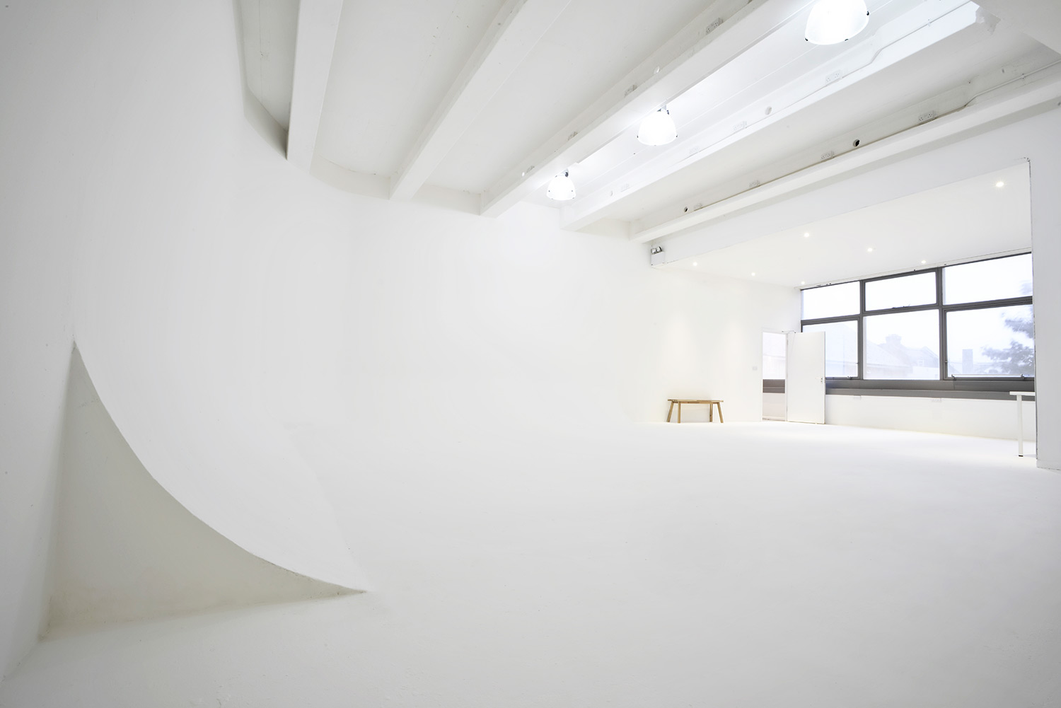 Studio A with L-shaped cove, from the loading shutter side, The Brighton Studio