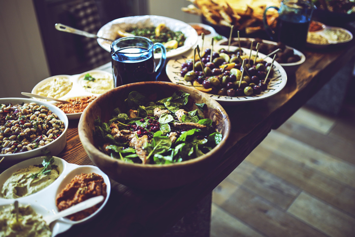 Example of healthy and tasty buffet lunch with salads