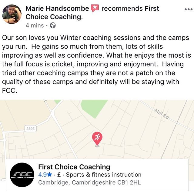 Nothing like some lovely parent feedback, makes it all worth while 👌🏼🏏 #FCC #FirstChoiceCoaching #Cricket #CWC19 #Parent #Reviews #Feedback #Sport