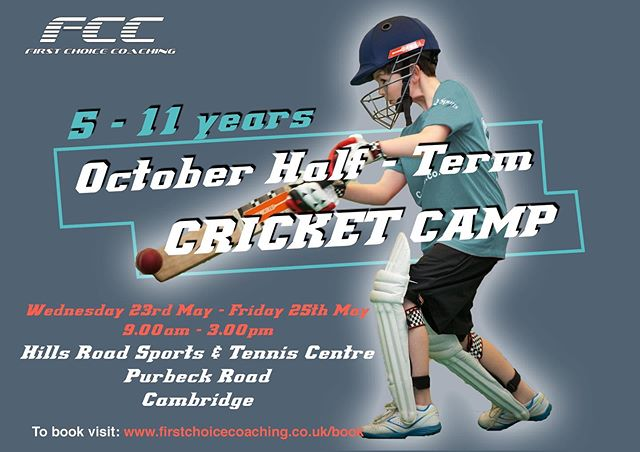 OCTOBER HALF TERM CAMPS!! Dates online now book your place today! 🏏🏏#FCC #FirstChoiceCoaching #Cricket #October #HalfTerm