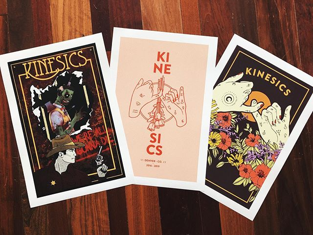 We're so excited about this (very) limited run of posters designed by @doggedlinedesignsupply! We will be selling them at our farewell show TONIGHT! You can Venmo $12 to @ Kinesics for your ticket before 2pm today, or get them through the link in our bio. ♥️