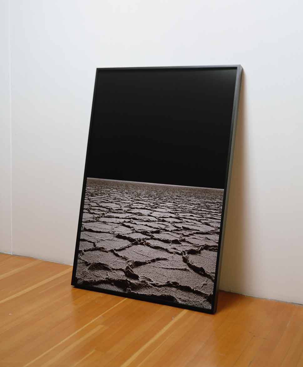 Black Mountain Detatchment: Two Nights, From Waxing to Fully Stated  2008 chromogenic print on Dibond, with painted poplar trapezoidal frame (profile view)
