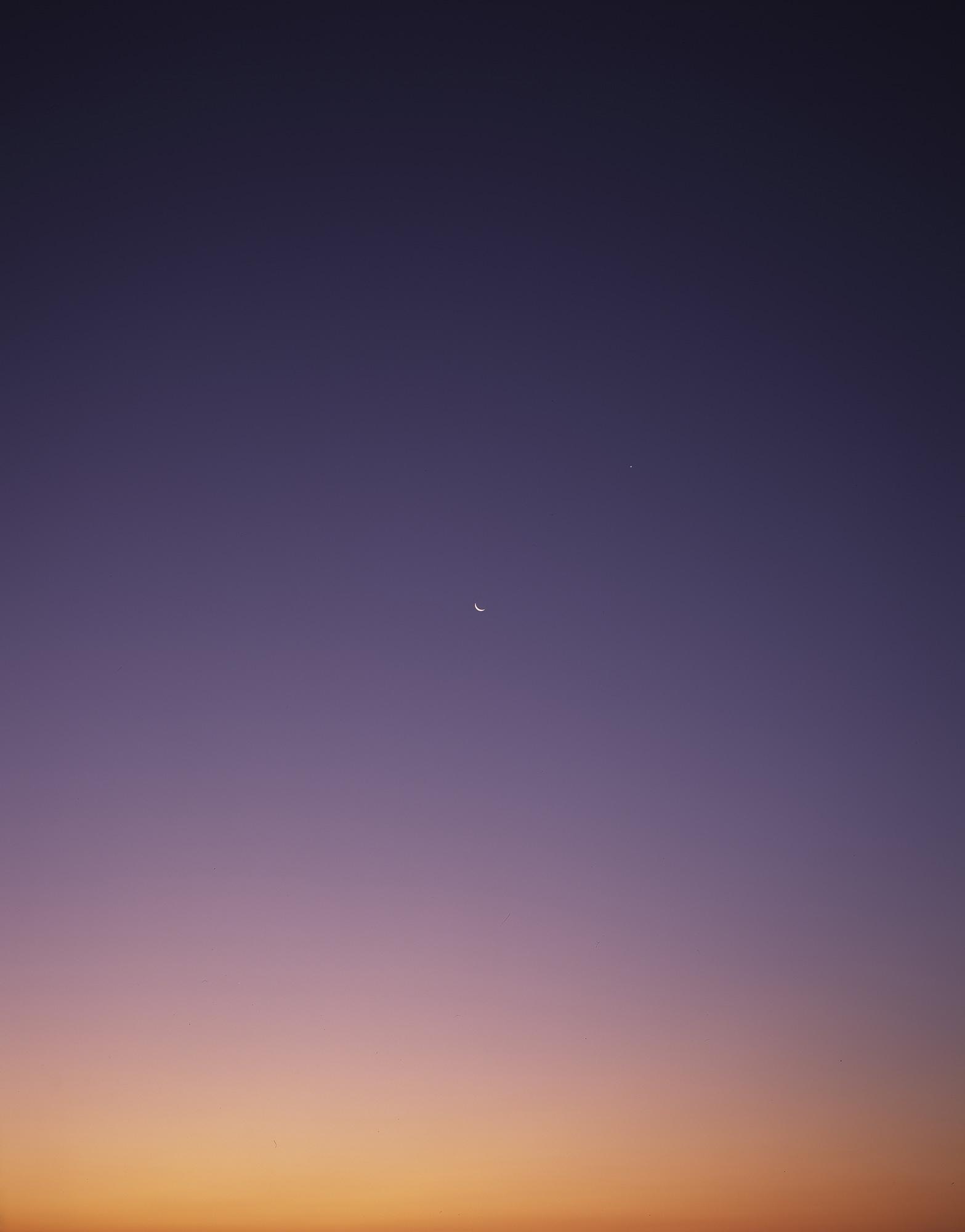 Moonset with Venus, Western Mojave 2015 chromogenic print