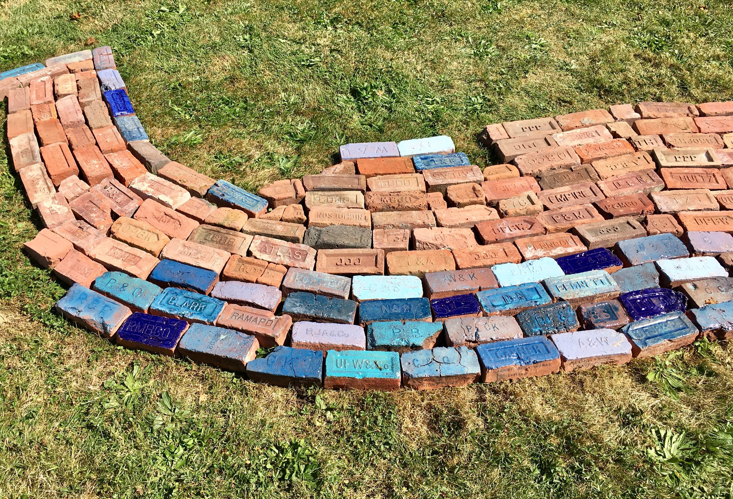 """detail of Haverstraw section of """"Hudson River of Bricks"""" on view at GlenLily Grounds at 536 Grand Avenue, Newburgh, NY through the end of October."""