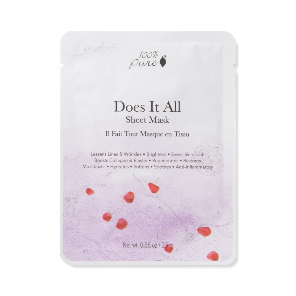 100% Pure Does it all Sheet Mask // single - $6 // 5 pack - $28 - Good For: All skin skin typesThis ultimate multitasking sheet mask does it all with vitamin C, retinol, licorice, resveratrol, caffeine