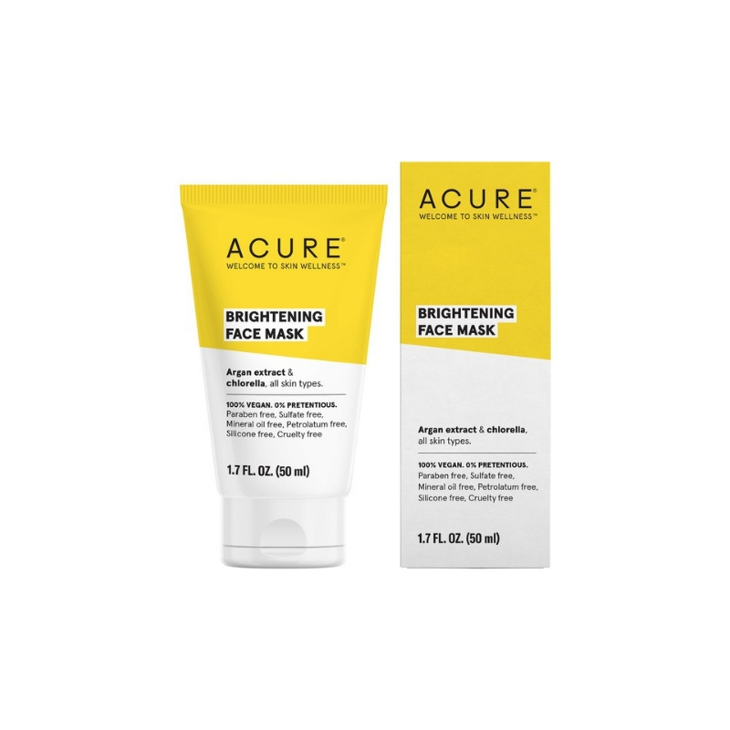Acure Brightening face Mask// $10 - Good For: All skin typesFrench green clay, chlorophyll & chlorella