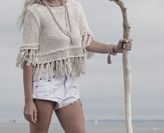 Coconut Wood Layered Necklaces and bracelets. Sweater by Free People.