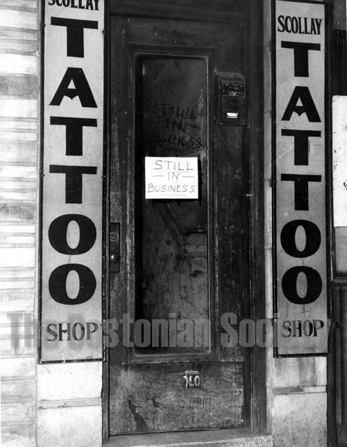 Lefty Liberty's Tattoo Shop at 49 Scollay Square, Boston, March 18, 1962. Courtesy of the Bostonian Society