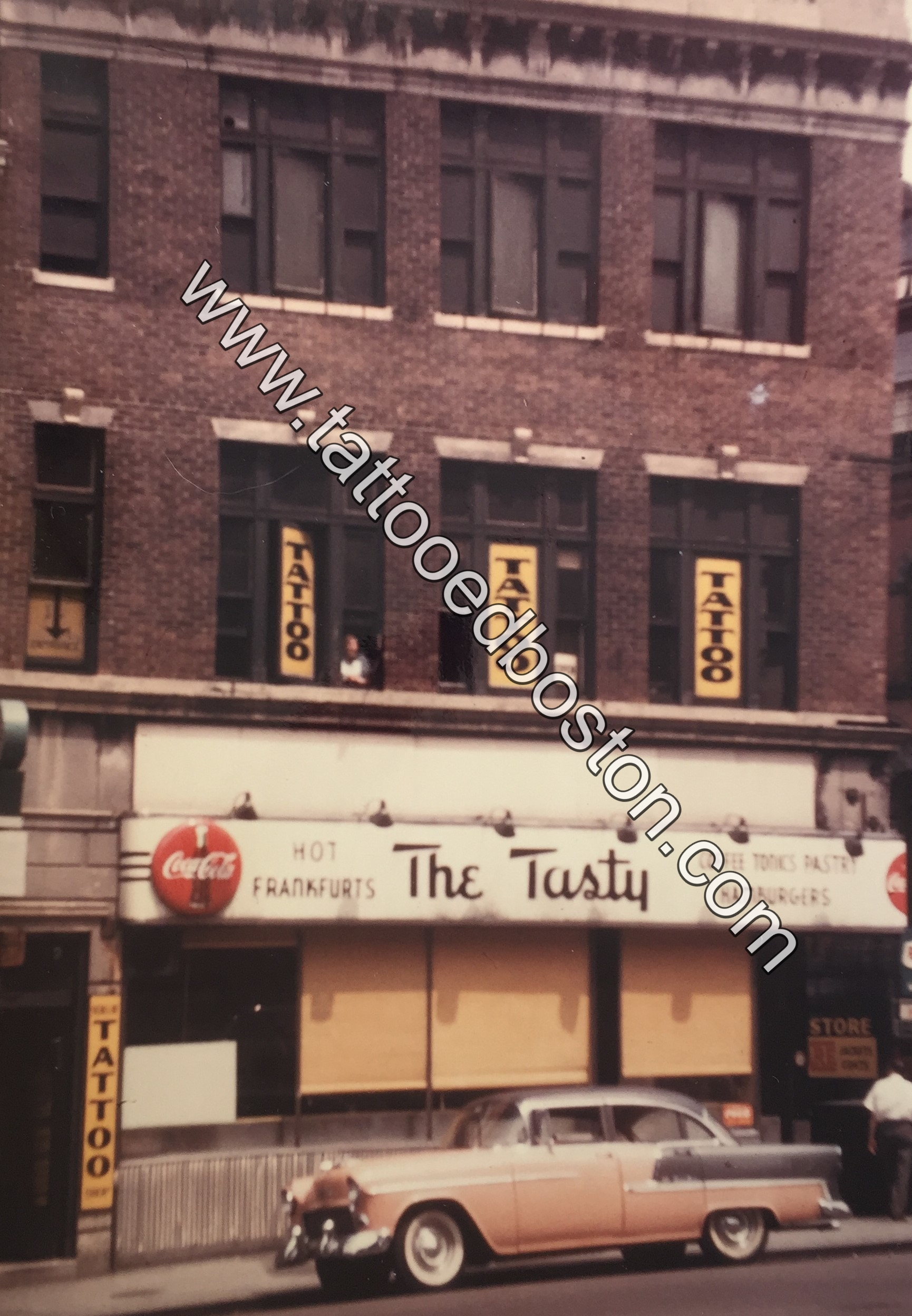 Lefty Liberty's Tattoo Shop at 49 Scollay Square, Boston, ca. 1955