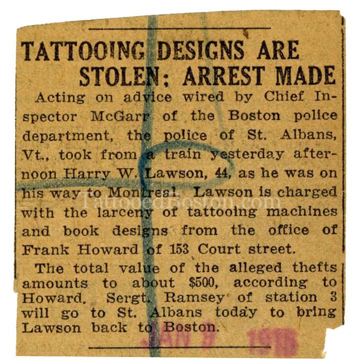 Harry Lawson's Arrest Notice, January 9, 1915