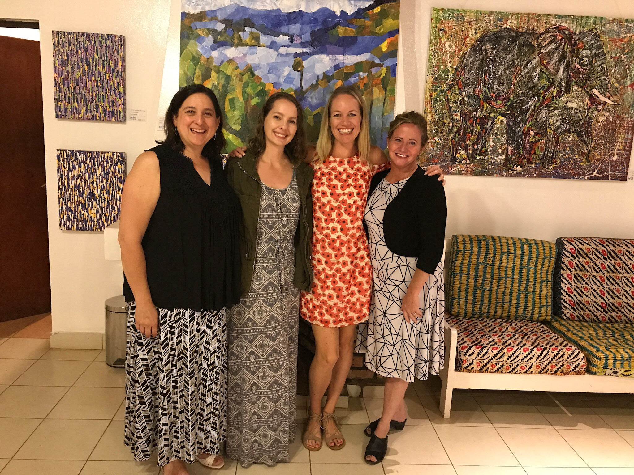 We're celebrating in RWANDA that we all met each other on a trip to GREECE several years ago and have made amazing memories together in various countries since then!  From left to right: Miriam, Courtney, Shasta, and Angie.