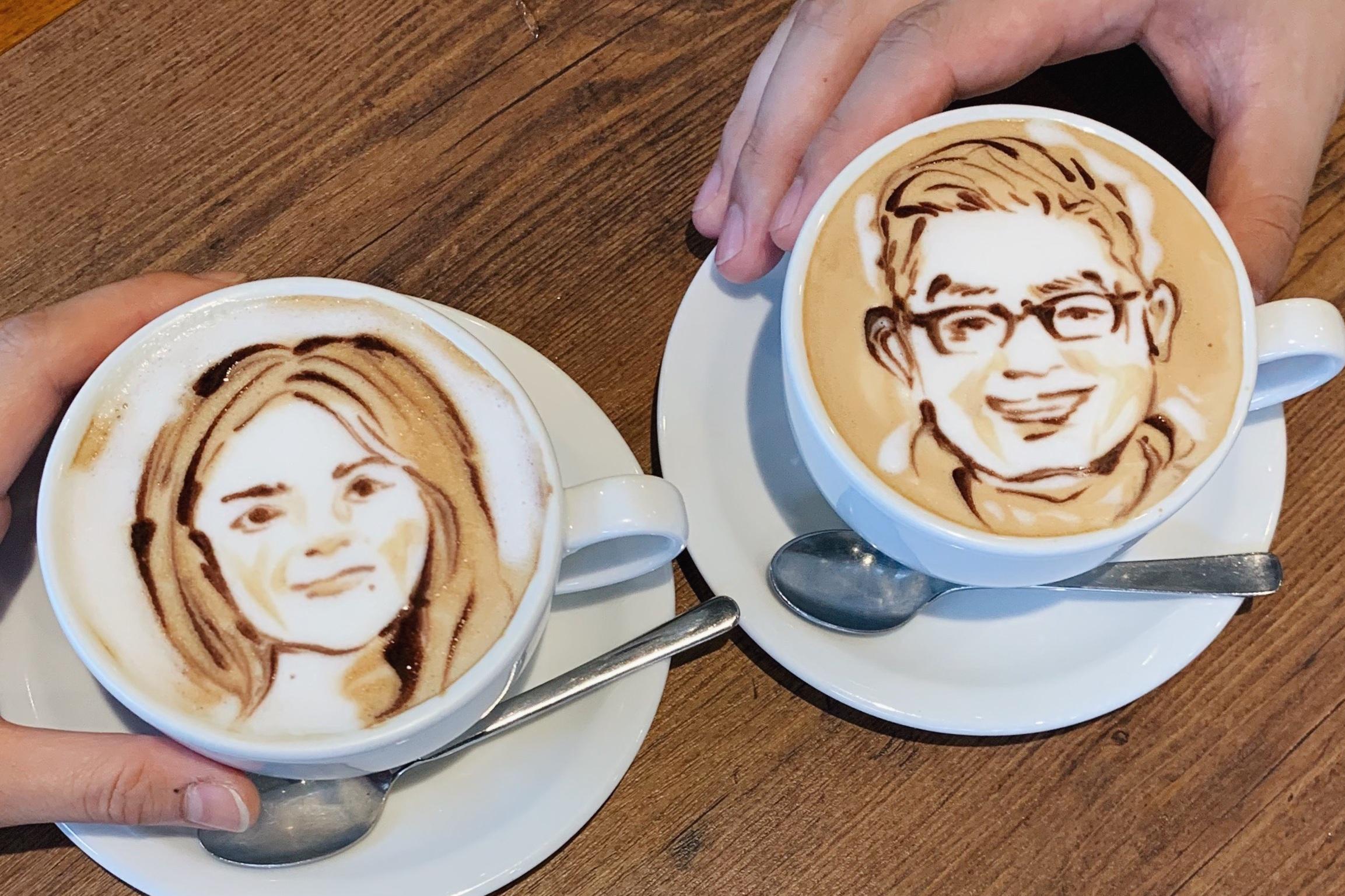 Our custom portrait latte art at Reissue
