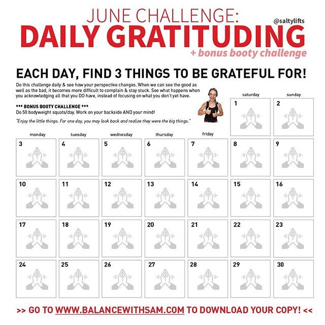 In tough moments, it's easy to complain, isn't it? We get into funks, shit happens. 🙏🏼 But for the month of June, let's practice gratitude together! (link in bio to download the calendar) ⁣⠀ Sometimes the whole world feels like it's out to get us! When this happens, do you have a hard time practicing gratitude? ⁣⠀ Sometimes, I do! And the thing is, we aren't hardwired to be grateful. But.. like any skill worth having, gratitude requires practice. ⁣ Do this challenge daily & see how your life changes. I end my day with gratitude. Going to bed acknowledging all that you DO have can put your mind at ease and send you off into sleep. ⁣⠀ Gratitude helps us see our situation in a way that can lessen panic and open up our thinking to new solutions. Gratitude puts situations into perspective. ⁣⠀ When we can see the good as well as the bad, it becomes more difficult to complain & stay stuck. Gratitude helps us realize what we have. ⁣⠀ The awareness of what we're grateful for can lessen our tendency to want more all the time. ⁣⠀ 🌟Gratitude makes us happier. Gratitude strengthens relationships, improves health, reduces stress, and, in general, makes us happier. ⁣⠀ Tag a friend below 👏🏼 ⁣⠀ #gratitudeattitude #grateful #behappy #happinessishere #happiness #thetimeisnow #itsthelittlethings #nonscalevictory #gratitude #mindfulness #mindbodygram #mindset #mindsetmatters #mindsetiseverything #liveauthentic #showupforyourself #mentalhealth #selfawareness #selfhealing #selfhealers #fatlosstips #fatlosscoach #gratefuleveryday #journaling #spiritualawakening #holistichealth #gratitudejournal #presence #selfreflection #selfcarethreads