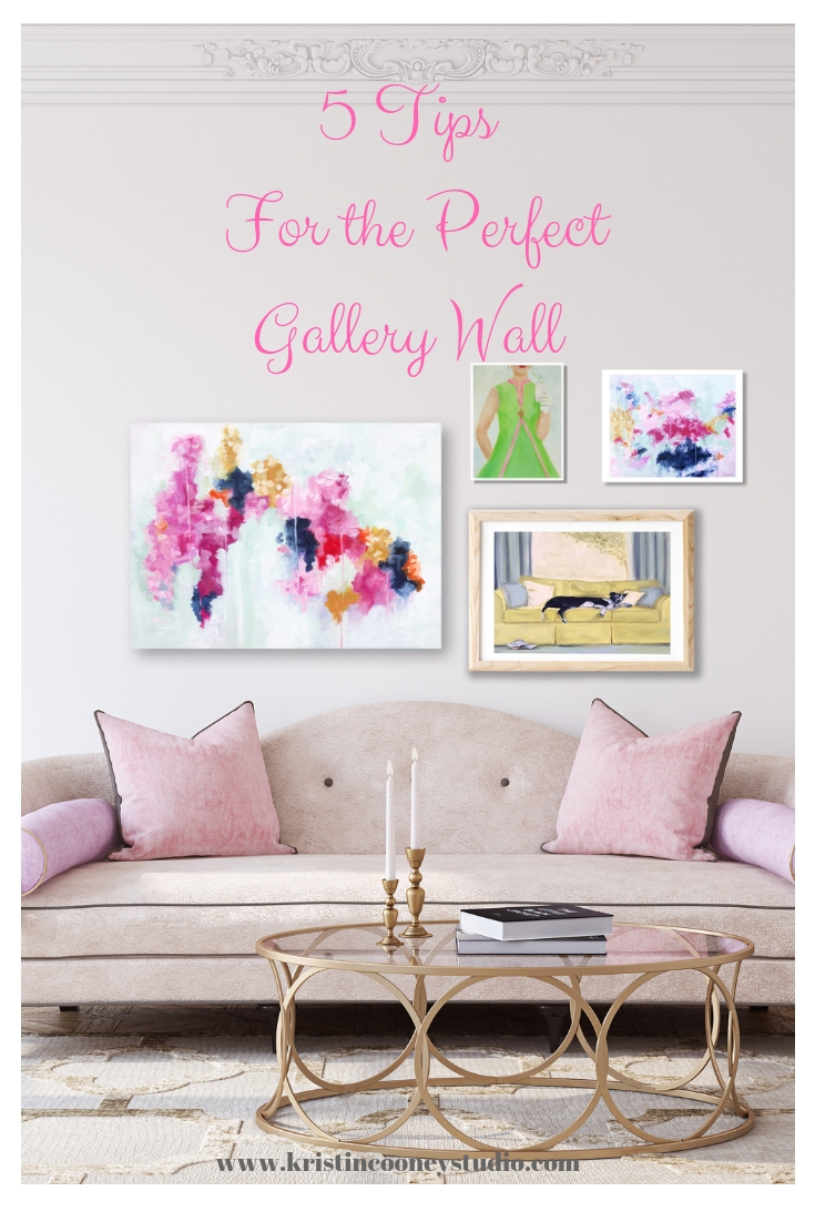 A combination of original paintings and prints by Kristin Cooney delight the eye as a Gallery Wall. Click for more details on  WINK WINK,   PRETTY PERSUASION ,  PINK LEMONADE , and  LAZY DAY .