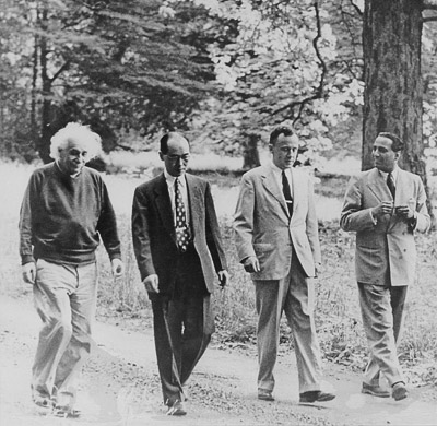 (L-R) Albert Einstein, Hideki Yukawa, John Wheeler (the one who coined the word 'black hole') and Homi Bhabha at the Institute for Advanced Studies in Princeton (Image Credit: Princeton University)