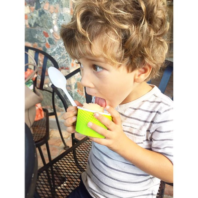 """First-ever ice cream date with this handsome dude. He keeps getting """"freeze brain"""" 😂 🍦"""