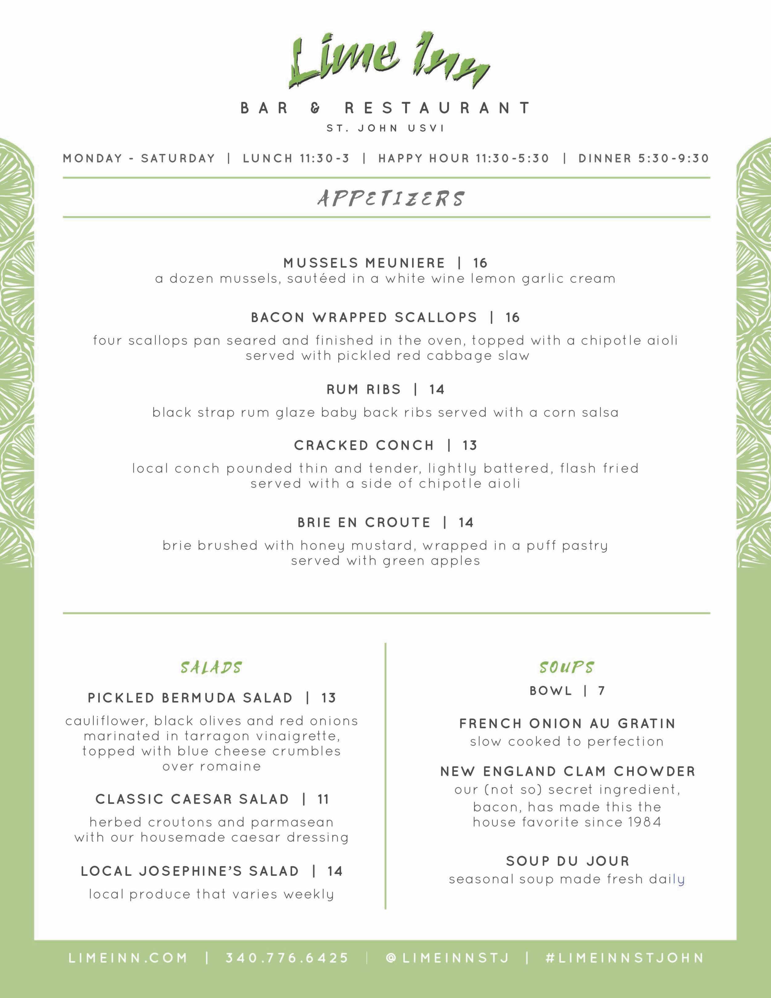 Lime Inn Menu