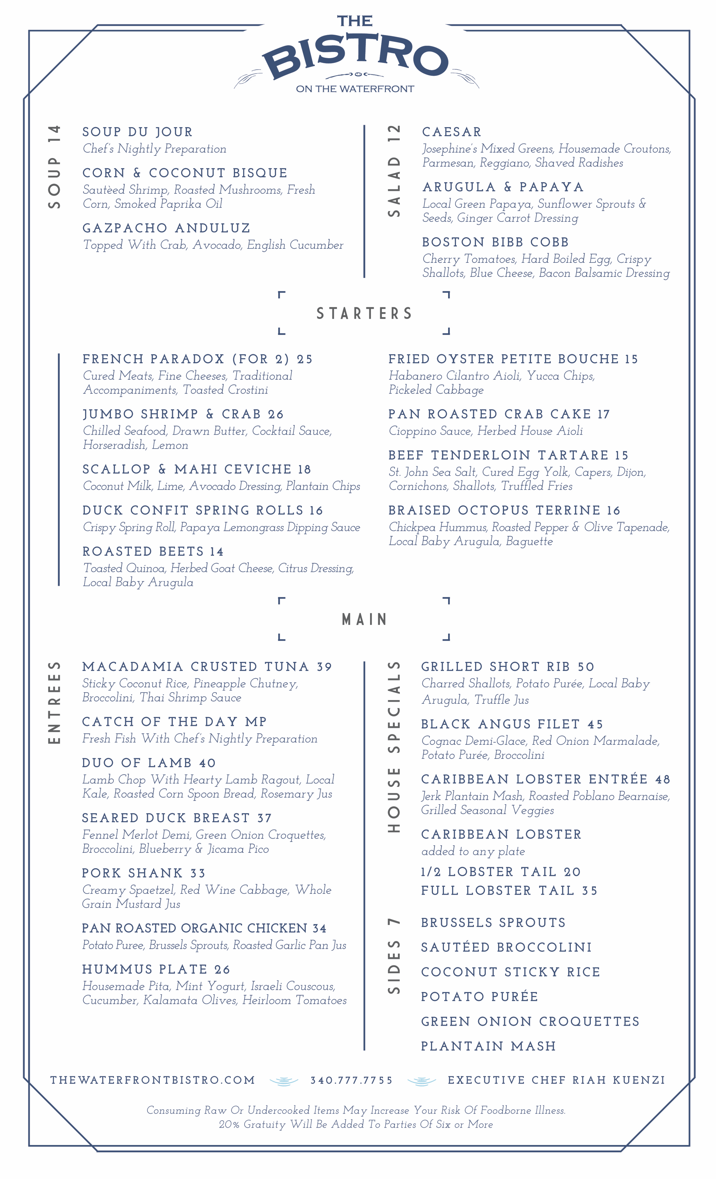 Waterfront Bistro Menu
