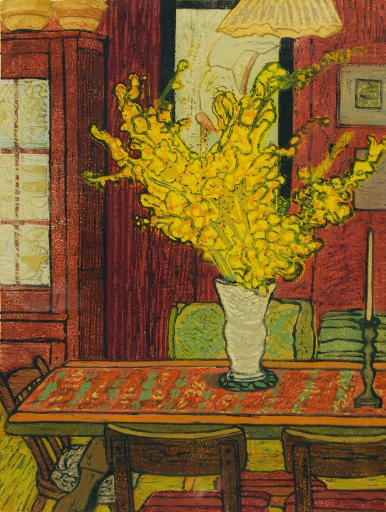 "Ruth Kirchmeier, ""Forsythia,"" wood cut print, 10.5 x 14 inches"