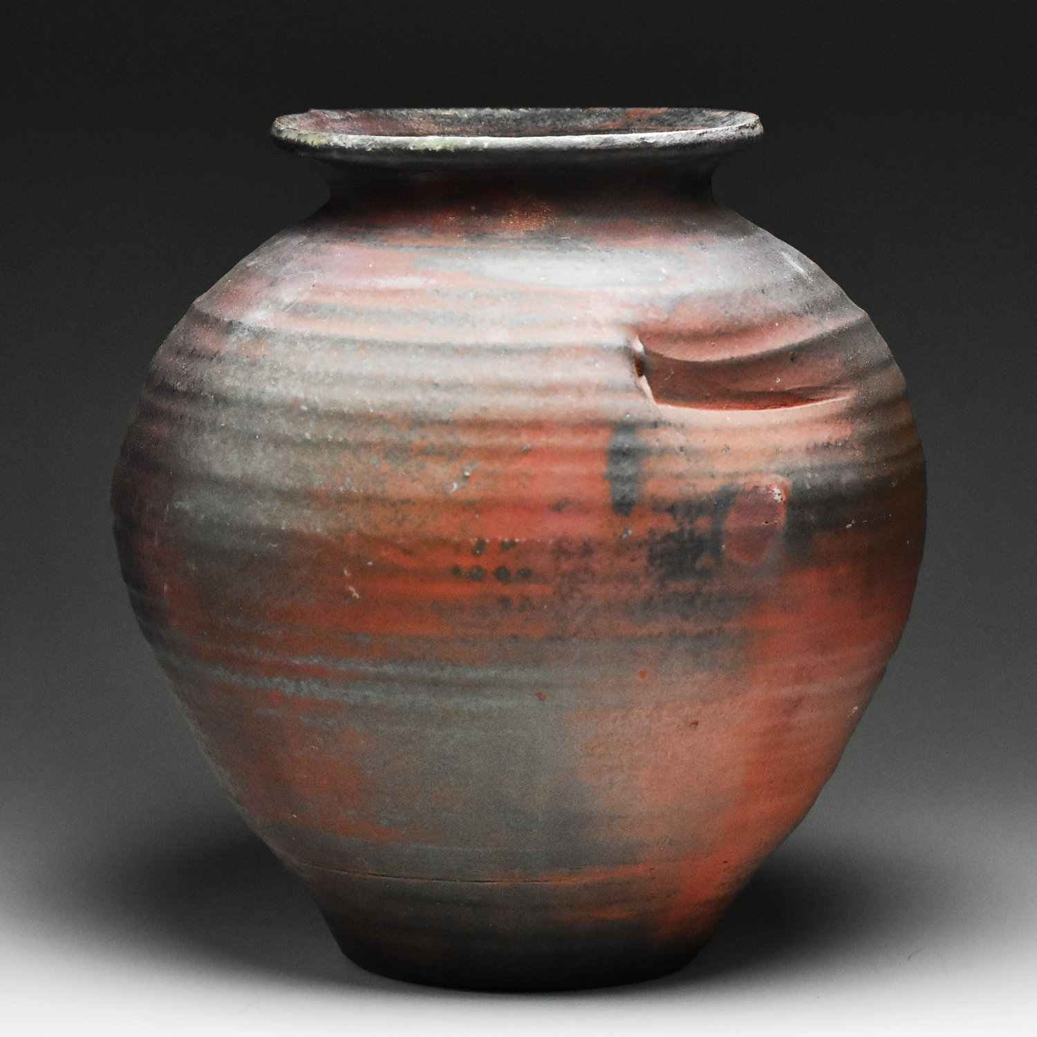 Micah Thanhauser, large vase, native clay, wheel thrown, wood fired