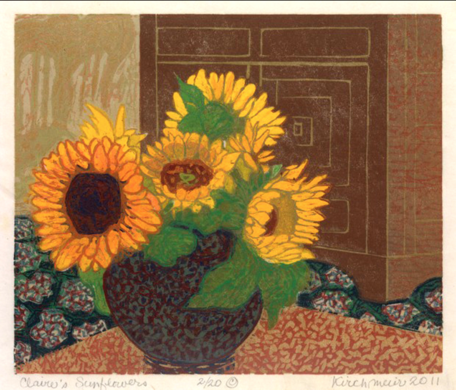 Ruth Kirchmeier,  Claire's Sunflowers , woodcut
