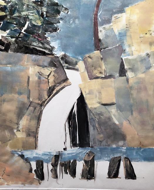 "SOUND,WATER & GRAVITY monoprint 30 by 22"" Mariella Bisson"