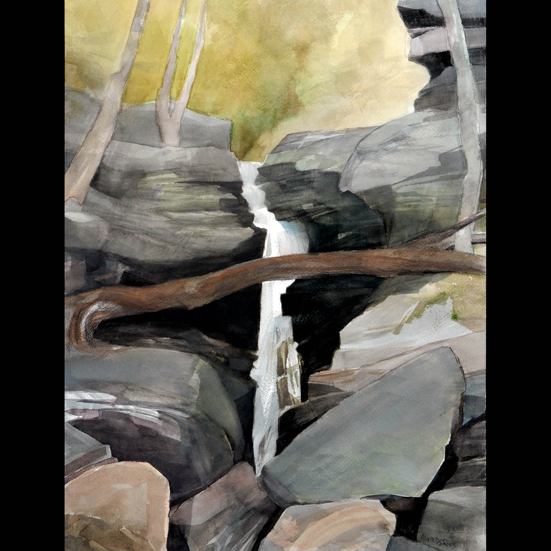 """RAVINE WATERFALL with LOG JAMMED INTO ROCKS watercolor 15 by 11.75"""" Mariella Bisson"""