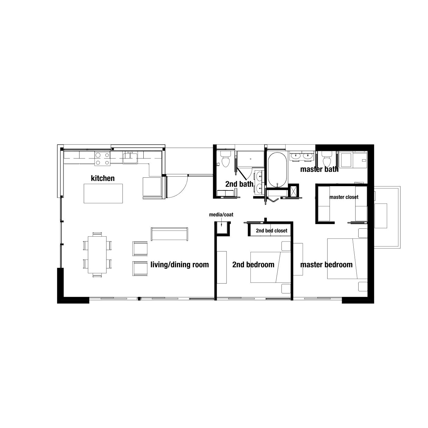 "OVERALL DIMENSION: 51'-10"" x 26'-0""   OVERALL SQ. FT.: approx. 1344 sq. ft.   LIVING & DINING: 24'-8"" x 16'-0""   KITCHEN: 16'-1"" x 7'-10""   PORCH: 7'-10"" x 4'-10""   COAT/MEDIA CLOSET: 6 sq. ft.   MASTER BEDROOM: 12'-6"" x 12'-2""    MASTER BATHROOM: 71 sq. ft. MASTER CLOSET: 46 sq. ft.   MASTER LINEN CLOSET: 4 sq. ft. 2nd BEDROOM: 12'-2"" x 9'-9""   2nd BEDROOM CLOSET: 9 sq. ft.   2nd BATHROOM: 58 sq. ft.   LAUNDRY/UTILITY ROOM: 25 sq. ft."