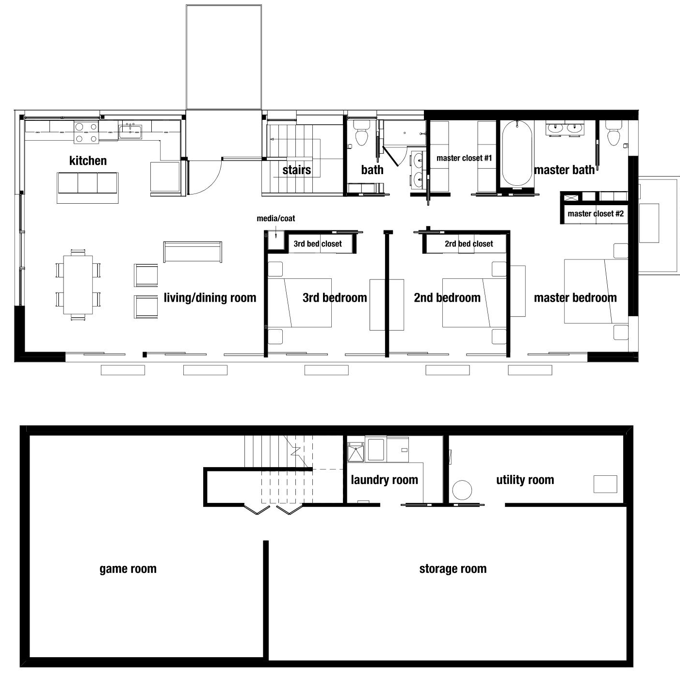 """OVERALL DIMENSION: 64'-4"""" x 26'-0""""   OVERALL SQ. FT.: approx. 1669 sq. ft.   LIVING & DINING: 24'-8"""" x 16'-0""""   KITCHEN: 16'-1"""" x 7'-10""""   PORCH: 7'-10"""" X 4'-10""""   COAT/MEDIA CLOSET: 6 sq. ft.   MASTER BEDROOM: 12'-6"""" x 12'-2""""   MASTER CLOSET: 53 sq. ft.   MASTER BATHROOM: 101 sq. ft.   MEDIA CLOSET: 6 sq. ft.   CLOSET: 7 sq. ft.   STAIR: 55 sq. ft.   2nd BEDROOM: 12'-2"""" x 9'-9""""   2nd BED CLOSET: 16 sq. ft.   3rd BEDROOM: 12'-1"""" x 9'-9""""   3rd BED CLOSET: 9 sq. ft.   2nd BATHROOM: 61 sq. ft."""