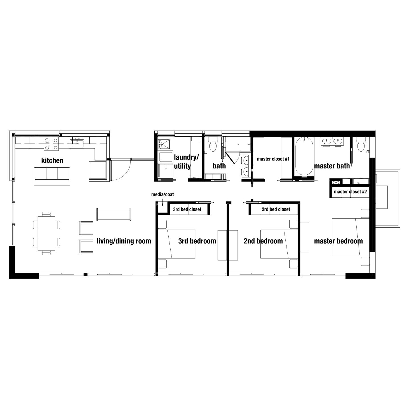 """OVERALL DIMENSION: 64'-4"""" x 26'-0""""   OVERALL SQ. FT.: approx. 1669 sq. ft.   LIVING & DINING: 24'-8"""" x 16'-0""""   KITCHEN: 16'-1"""" x 7'-10""""   PORCH: 7'-10"""" X 4'-10""""   COAT/MEDIA CLOSET: 6 sq. ft.   MASTER BEDROOM: 12'-6"""" x 12'-2""""   MASTER CLOSET: 53 sq. ft.   MASTER BATHROOM: 101 sq. ft.   MASTER MEDIA CLOSET: 6 sq. ft.   MASTER LINEN CLOSET: 7 sq. ft.   2nd BEDROOM: 12'-2"""" x 9'-9""""   2nd BED CLOSET: 16 sq. ft.   3rd BEDROOM: 12'-1"""" x 9'-9""""   3rd BED CLOSET: 9 sq. ft.   2nd BATHROOM: 61 sq. ft.   LAUNDRY/UTILITY ROOM: 58 sq. ft."""