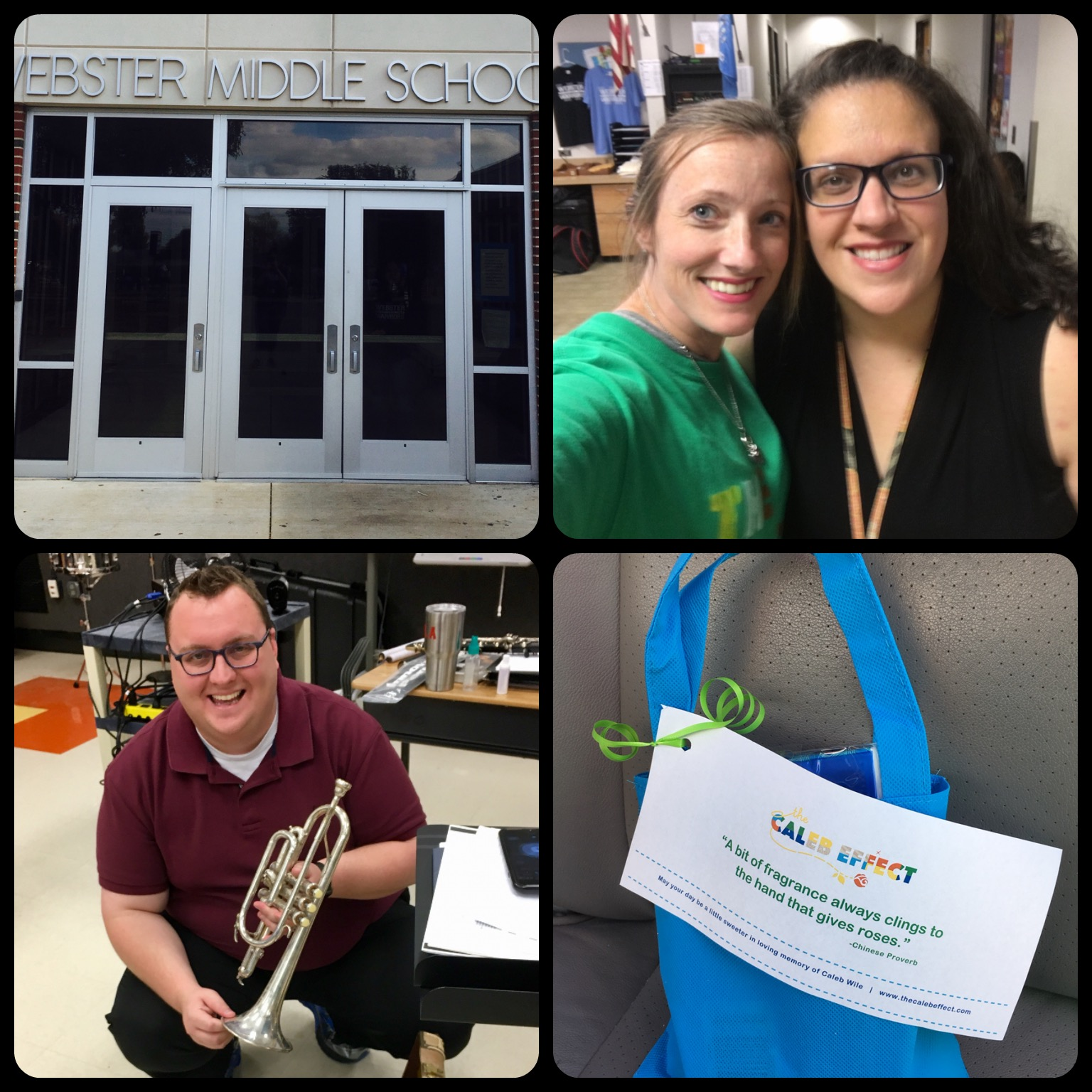 Dropped off a trumpet that was graciously donated by someone from the Piedmont Facebook marketplace. Mr. Annesley also got a few goodies to help him weather the band's outdoor performances and a gift card to help purchase sheet music.   Webster also gets bonus points as I got to hug  Sarah Odusi , their sweet school counselor! — with  Jon Annesley  and  Sarah Odusi  at  Webster Middle School .