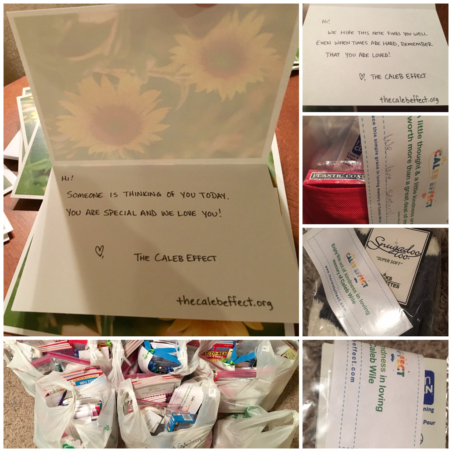 Handwritten notes to let people know we love seniors and that we care.
