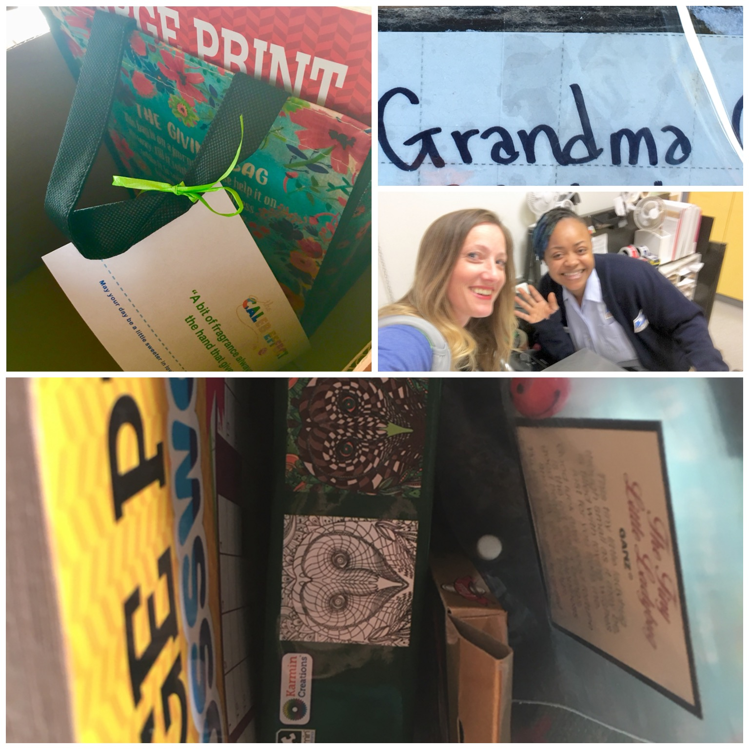 """Where am I? What stop is this? Oh yes: Stop #6-USPS Sent some love and mailed a package to my only living grandparent, your great-grandma. I met my new friend KiKi (not sure if that is how you spell it or not because according to her name tag, as I teased her, her name was """"Trainee"""").I liked her right away. She had fun hair with blue and green accents, so that made me know she didn't take herself too seriously. I was the only customer in there (also highly unusual) so she was taking her time and being friendly with me. Her questions went beyond the standard """"Do you have anything liquid, fragile, perishable, hazardous, etc?"""" She noticed that the first name on the package was """"Grandma,"""" and asked me if I spent summers in California with my grandma when I was growing up. I told her that I wished I did but that I've only had a few opportunities to see her in my life. I don't normally tell people about you in these kinds of settings, but she was genuinely curious why I was sending this package and I think KiKi even said something asking if there was a specific reason I was sending your great-grandma something. Maybe it is rare for people to mail their grandparents a package so she wanted to know more. I told her about """"Nice On The 9th"""" and gave her one of your cards. The lady at the next station heard me talking about you and about SUDC and showed me a picture she keeps at her station of a friend's little one who also died in their sleep. Her friend's child was under 1, so it was labeled as SIDS, but maybe you have now met this new friend, too.  I reminded them to not take any days for granted and had to get a picture of my new friend. Once again, it was on that weird mode, so blur city was all I got. Maybe they are following your page now and will see this posted. I know they will remember you hopefully for a really long time."""