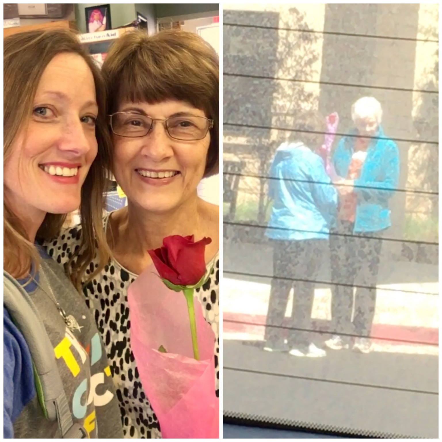 """Stop #11, 12, and 13-Handing out more roses: -Walgreens parking lot-to a great-grandma -At the Crossings Clinic to two ladies leaving (view from my back windshield trying not to be a creeper) -At """"Grandma Pat's"""" work (yes, another one that is not related by blood but that I love dearly. I told her she wasn't really old enough to get one of these, but she always let my nieces and I call her and her husband """"Grandma  Pat """" and """"Grandpa George"""" when we lived next door, so she still qualified. Do we have some terrific people in our lives or what?— at  Crossings Community Center & Clinic ."""