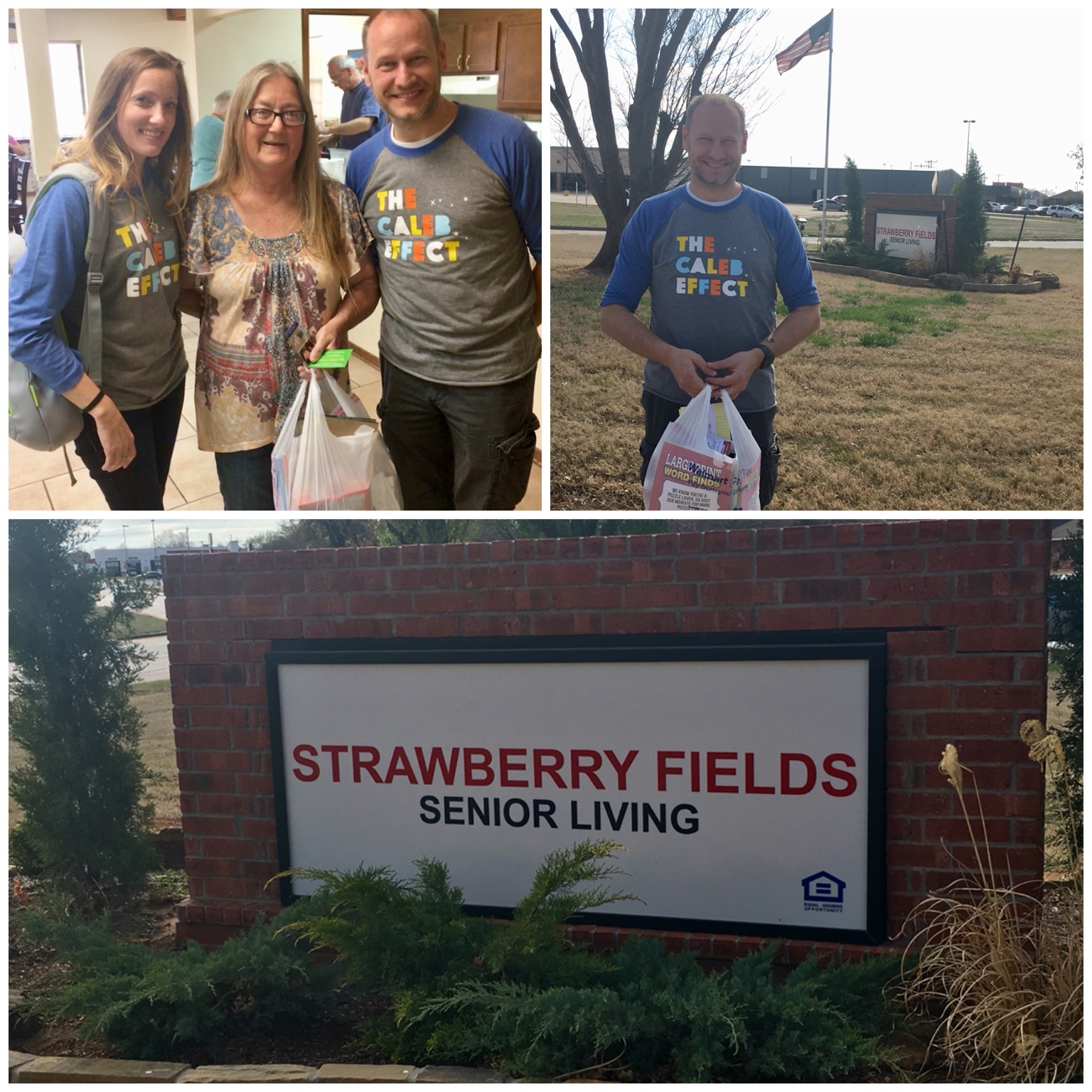 """Stop #17! Strawberry Fields Senior Living -As I said in my Facebook Live video, this was not part of the original plan, but is anyone surprised at this point? You had been in so many different cities already that I wanted our last stop to be a senior living center in Mustang, the town closest to where we live. Daddy wracked his brain and the only place he could think of was this place. What?? Also, if people do not believe in signs after ALL of these today, I can't wait until you do something even more grand like you keep doing for Mommy and Daddy. I admit that I am a skeptic and a person who likes proof, so I'm sorry you have to work a little harder for me. However, as I told you, you know what I need and you keep making my mouth drop open when I'm not sure I should trust my own eyes. Also, the lady inside already knew all about you, Caleb Lennon and said she got emotional just seeing us walking in with our shirts. The goodies we left here are going to be used for this low-income retirement community's bingo prizes.  April 2018-Nice On The 9th Recap:  7 cities (Norman, Moore, OKC, The Village, Edmond, Yukon, and Mustang) + 12 hours of being """"Nice On The 9th"""" =PRICELESS day of spreading The Caleb Effect with our community.  I love you, Caleb. Now and always.  — with  Ken Toey at  Strawberry Fields Senior Living & Retirement Community ."""
