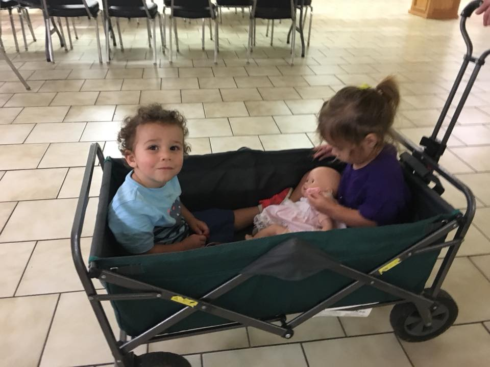 "Free wagon rides. Even teaching the baby dolls how to ""be nice."" — with  Kissy Padron  and  Thomas Lundy ."